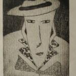 Man met hoed (litho - 20/30 cm)